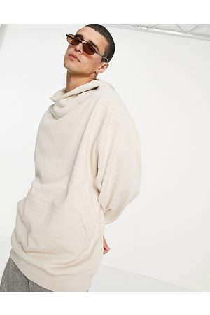 ASOS Oversized hoodie with crossover neck in beige-Neutral