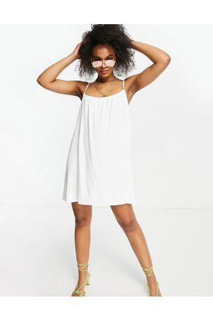 ASOS Women Summer Dresses - Gathered neck strappy mini sundress in white