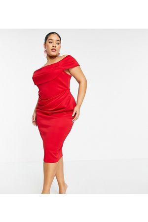ASOS Women Midi Dresses - ASOS DESIGN Curve drape bardot corset pencil midi dress in red