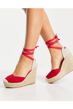 London Rebel Heeled Sandals - High tie leg espadrille wedges in red