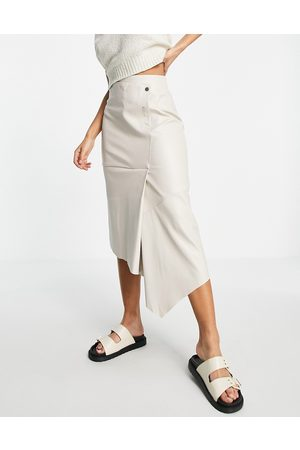 Topshop Popper faux leather midi skirt in white
