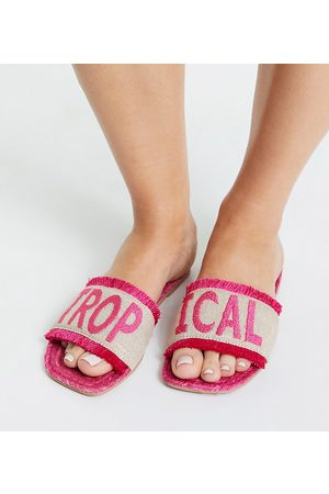 ASOS Espadrilles - Wide Fit Jelly slogan espadrille mules in bright pink