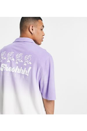 COLLUSION Men Casual - Oversized jersey shirt with cartoon print in purple ombre pique fabric