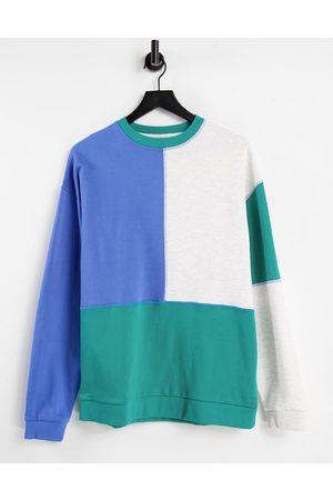 ASOS Sweatshirts - Oversized sweatshirt in colour-block with stitch detail-Multi