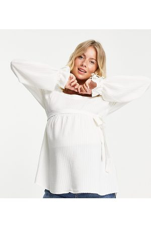 Mama Licious Women Tops - Mamalicious Maternity smock top with square neck and over the bump tie in white