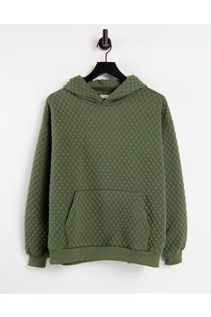 ASOS Hoodies - Oversized quilted hoodie in khaki-Green