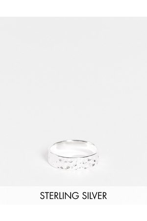 ASOS Rings - Sterling silver band ring with hammered texture in silver