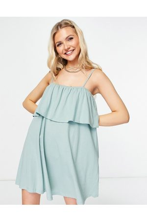 ASOS Women Summer Dresses - Square neck sundress with overlayer frill in sage green