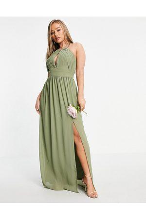 TFNC Women Maxi Dresses - Bridesmaid pleated maxi dress in dusky green-Grey