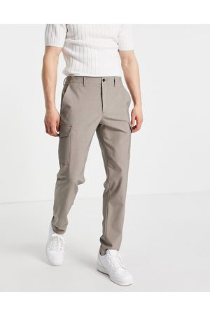 SELECTED Slim tapered cargo pants in sand-Brown