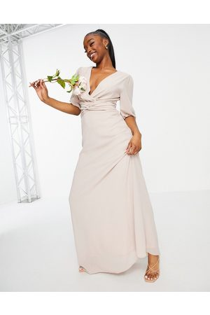 TFNC Women Maxi Dresses - Bridesmaid wrap front maxi dress in pink