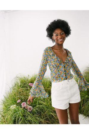 ASOS Women Crop Tops - Sheer frill neck crop with flared sleeve in floral-Multi