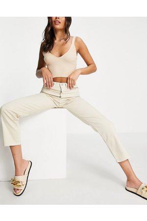 NA-KD Women Boyfriend - Cotton straight leg jean in light ecru-Neutral