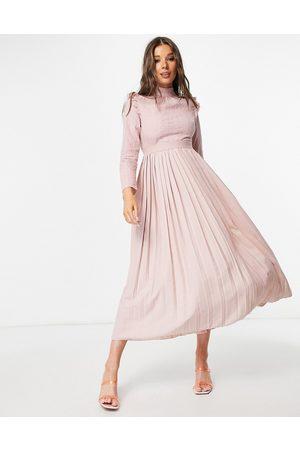 Little Mistress Women Midi Dresses - High neck frill shoulder pleated midi dress in dusty mink-Pink