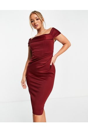 ASOS DESIGN Women Midi Dresses - Drape bardot corset pencil midi dress in wine-Red