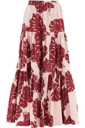 La DoubleJ Big Tiered Monstera-print Cotton-poplin Skirt - Womens - Print