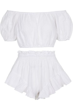 Caroline Constas Exclusive to Mytheresa – Linen crop top and shorts set