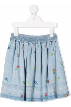 Stella McCartney Floral-embroidered denim skirt