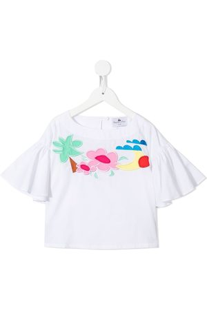 RASPBERRY PLUM Embroidered motif flutter-sleeve T-shirt