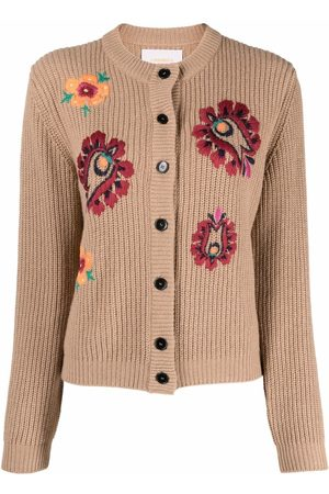 La DoubleJ Floral-embroidered knitted cardigan