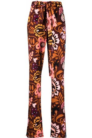La DoubleJ Floral belted flared trousers