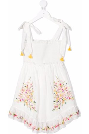 ZIMMERMANN Girls Printed Dresses - Mae floral-embroidered cotton dress