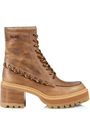 See by Chloé Women Heeled Boots - Mahalia Suede Platform Combat Boots
