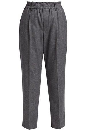 Brunello Cucinelli Wool Flannel Pull-On Pants