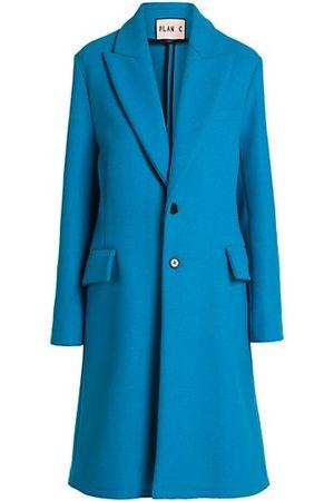 Plan C Women Raincoats - Bright Virgin Wool-Blend Coat