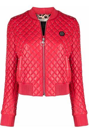 Philipp Plein Women Bomber Jackets - Stud-embellished bomber jacket