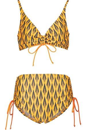 Paco Rabanne Printed ruched bikini