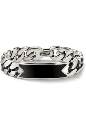 David Yurman Men Bracelets - Sterling onyx curb-chain ID bracelet
