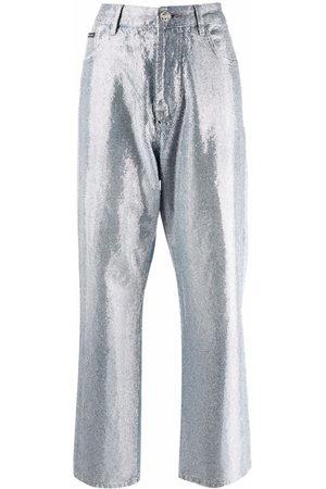 Philipp Plein Full Crystal wide-leg jeans