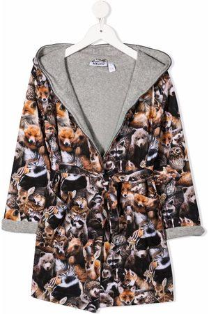 Molo Forest Animal-print organic cotton bathrobe