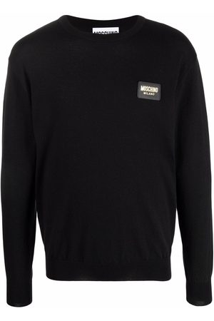 Moschino Men Sweatshirts - Logo-patch crew neck sweater
