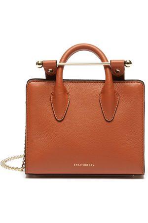 STRATHBERRY Women Shoulder Bags - Nano Tote' Metal Bar Closure Leather Crossbody Bag