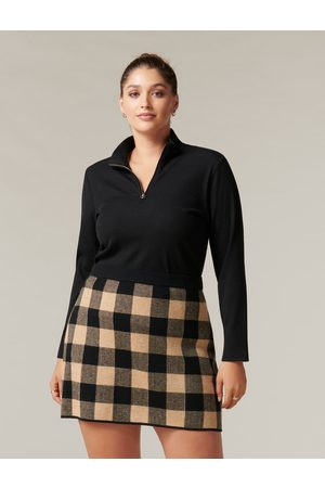 Forever New Freya Curve Zip Front Rib Polo Top