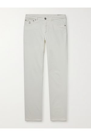 Brunello Cucinelli Men Formal Pants - Slim-Fit Tapered Cotton-Corduroy Trousers