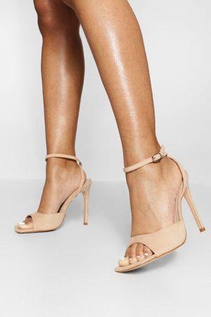 Boohoo Women Heeled Sandals - Wide Fit High Vamp 2 Part Sandal- Nude