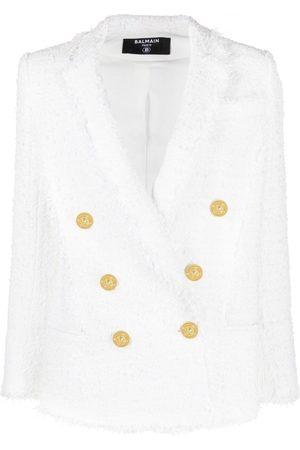 Balmain Women Jackets - Double-breasted tweed jacket