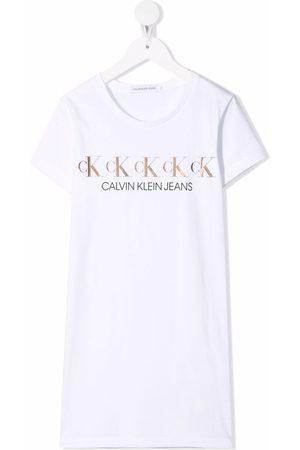 Calvin Klein Girls Short Sleeve - Metallic logo print T-shirt