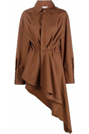 The Attico Women Asymmetrical Dresses - Asymmetric gathered shirt-dress