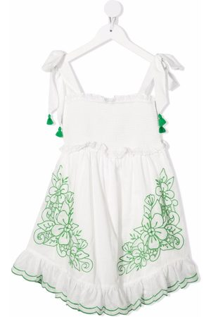 ZIMMERMANN Girls Printed Dresses - Floral-embroidery flared dress