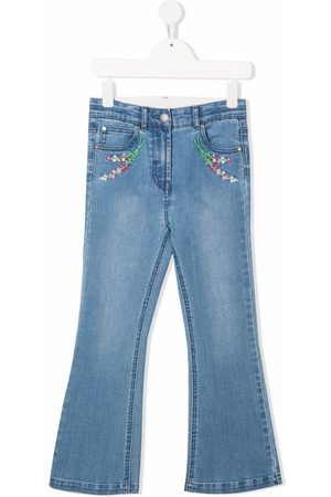 Stella McCartney Kids Floral-embroidered flared jeans