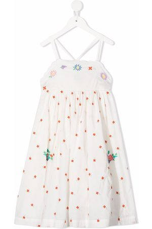 Stella McCartney Girls Printed Dresses - Floral-embroidered pinafore dress