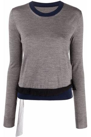 Maison Margiela Women Tops - Contrast-trim long-sleeve knitted top