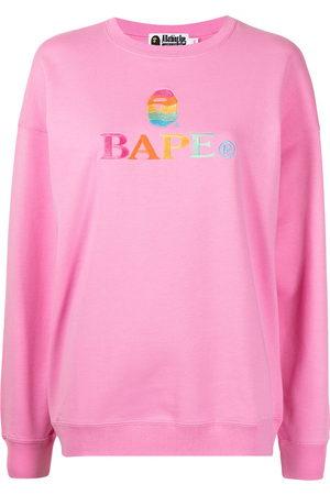 A Bathing Ape Women Sweaters - Logo-embroidered cotton sweatshirt
