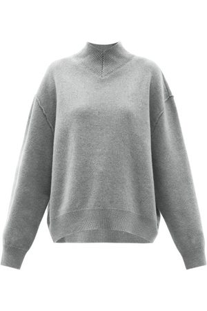Women Sweaters - Raey - Responsible-wool Displaced-sleeve V-neck Sweater - Womens