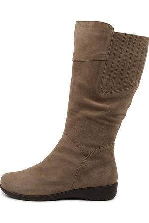 SUPERSOFT Pilka Su Taupe Boots Womens Shoes Casual Long Boots