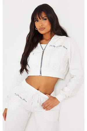 PRETTYLITTLETHING Cream Cropped Embroidered Zip Hoodie